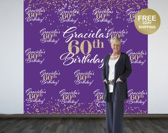 60th Birthday Personalized Photo Backdrop   Purple and Gold Sparkle Photo Booth Backdrop   Birthday Backdrop   Printed Backdrop