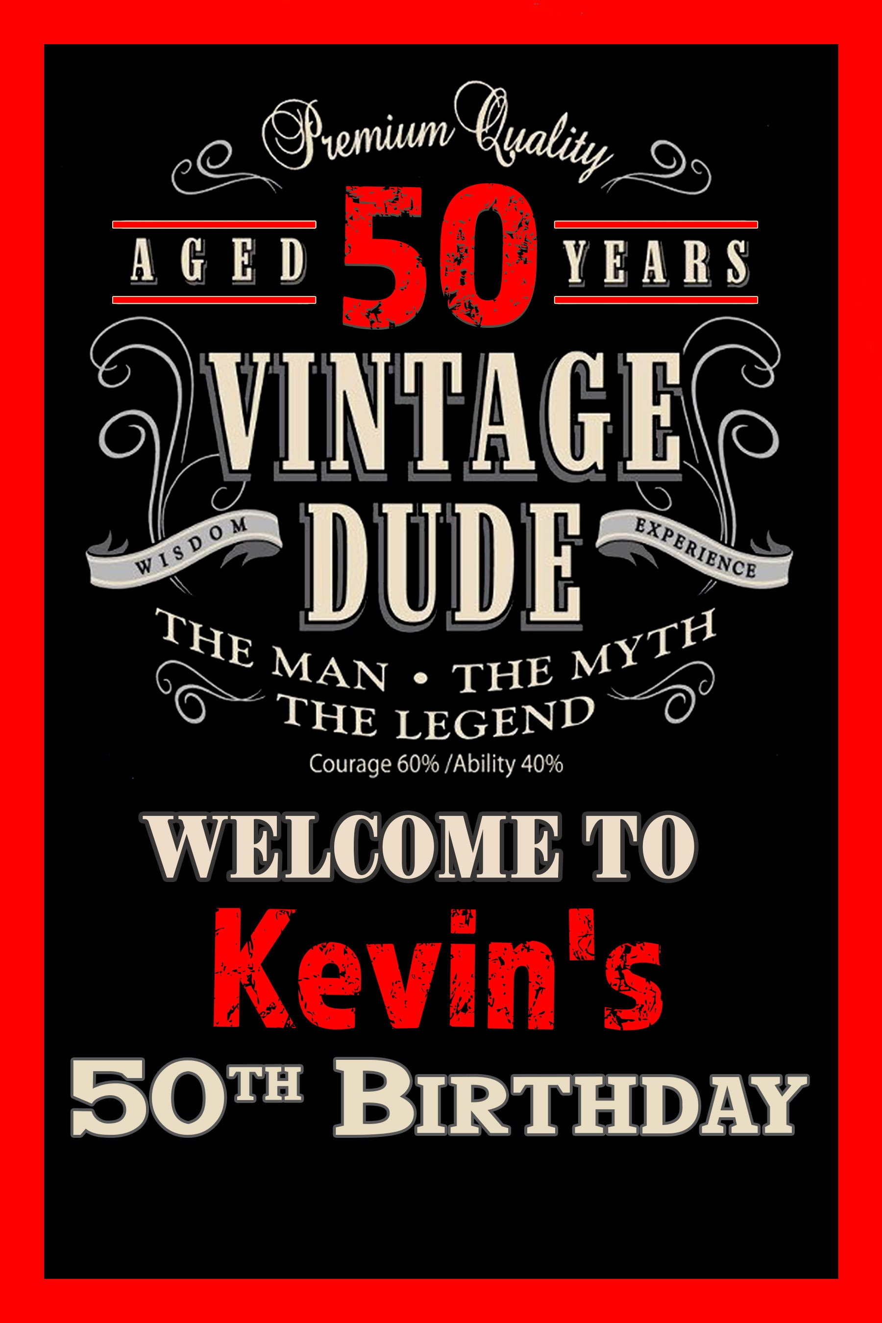 vintage dude welcome sign 50th birthday party sign welcome sign