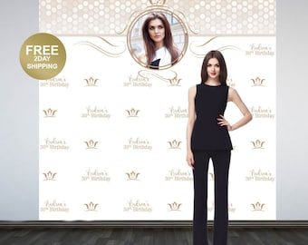 Birthday Queen Photo Backdrop | Step and Repeat Photo Backdrop | 30th Birthday Backdrop | Printed Photo Booth Backdrop | Vinyl Backdrop