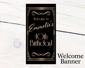 Great Gatsby Birthday Door Banner, Personalize Retro Birthday Banner Party Banner, Welcome to the Party Banner, Printed Vinyl Banner,