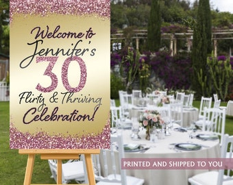 Flirty and Thirty Welcome Sign, Rose Gold Sparkle Sign, 30th Birthday Welcome Sign, Foam Board Welcome Sign, Birthday Welcome Sign - Canvas
