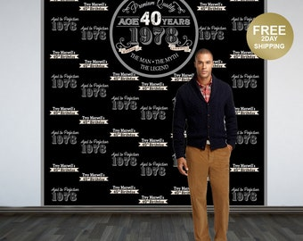 Vintage Birthday Photo Backdrop   Aged to Perfection Photo Backdrop   40th Birthday Photo Backdrop   Step and Repeat Backdrop   Backdrop