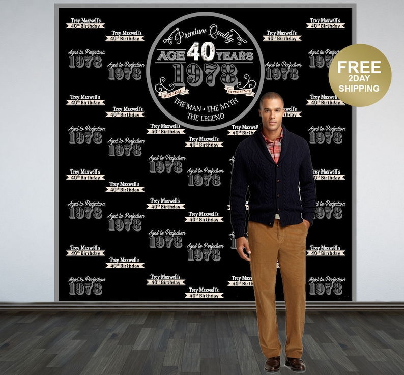 Aged to Perfection Photo Backdrop Vintage Birthday Photo Backdrop Backdrop 40th Birthday Photo Backdrop Step and Repeat Backdrop