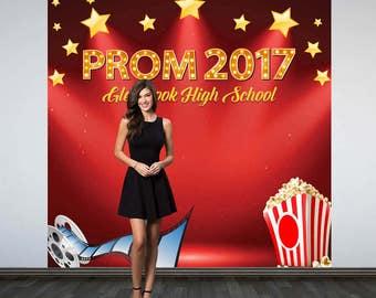 Prom Personalized Photo Backdrop - Movie Theme Birthday Photo Backdrop - Hollywood Photo Booth Backdrop, Prom 2017 Photo Backdrop, Printed