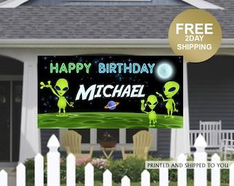 Birthday Banner   Personalized Birthday Banner   Birthday Alien Vinyl Banner   Outer Space Birthday Banner   Quarantine Birthday Banner