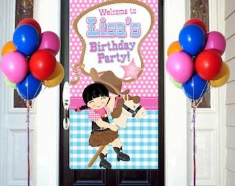 Sherrif Party Birthday Door Banner, Personalize Cowgirl Party Banner, Welcome to the Party Banner, Western Party Banner, Birthday Banner