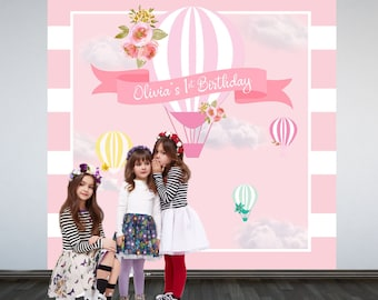 Up up and Away Party Photo Backdrop, Hot Air Balloons Personalized Photo Backdrop- 1st Birthday Party Backdrop - Hot Air Balloon Backdrop