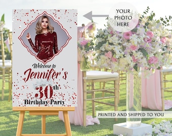 30th Birthday Welcome Sign - Photo Guest Sign in Board, Welcome to the Party Sign, Foam Board Printed Welcome Sign, Party Welcome Sign