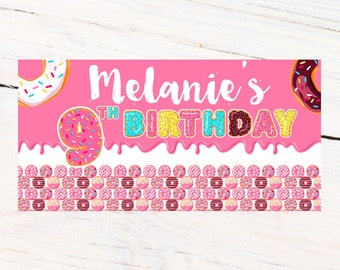 Donut Grow Up Banner ~ Personalized Party Banner ~ Donut Party Birthday Banner, Printed Birthday Banner, Vinyl Birthday Banner, Donut Party