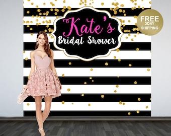 Bridal Shower Personalized Photo Backdrop   Black and White Stripes Photo Backdrop   30th Birthday Backdrop   Photo Booth Backdrop