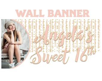 Birthday Dreams Banner  ~ Sweet 16 Gold Polka Dots Birthday Personalize Party Banners - Large Photo Birthday Banner, Printed Vinyl Banner