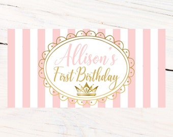 First Birthday Princess Banner ~ Personalized Party Banners -First Birthday Girl Banner - Custom Banner - Birthday Princess Banner