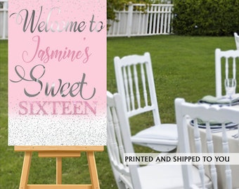 Sweet Sixteen Welcome Sign, Pink and Silver Sparkle Sign, Sweet 16 Welcom Sign, Foam Board Welcome Sign, 50th Birthday  Printed Welcome Sign