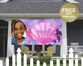 Mermaid Splash Photo Banner ~ Personalized Party Banner ~ Purple Mermaid Birthday Banner, Birthday Banner | Lawn Banner | Birthday Yard Sign