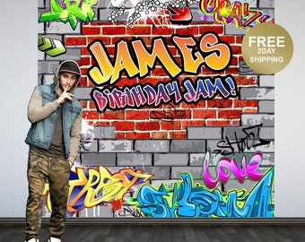 Graffiti Brick Personalized Photo Backdrop | 90's Photo Backdrop | Hip Hop Birthday Photo Backdrop | Custom Backdrop | Birthday Backdrop