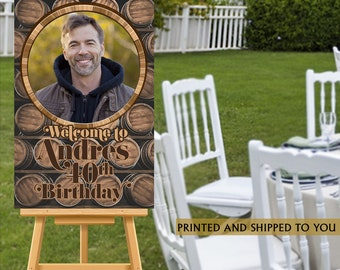 Aged to Perfection Welcome Sign - 50th Birthday Party Sign - Welcome Sign 40th Birthday, Whiskey Foam Board Sign, Welcome to the Party Sign