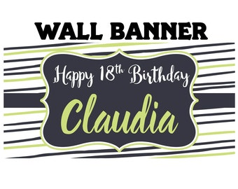 Fun Stripes Birthday Banner  ~ 18th Birthday Personalize Party Banners - Large Photo Banners - 16th Birthday Banner - Printed Banner