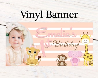 Jungle Friends Birthday Banner  ~ Personalized First Birthday Banners -Baby Shower Banner, 1st Birthday Girl Banner, Printed Banner