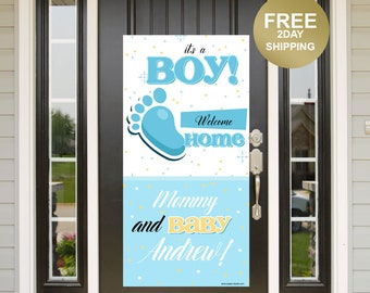 It's a Boy Door Banner | Welcome Home Baby Banner | Baby Arrival Door Banner | Mommy and Baby Yard Banner, New Baby Banner