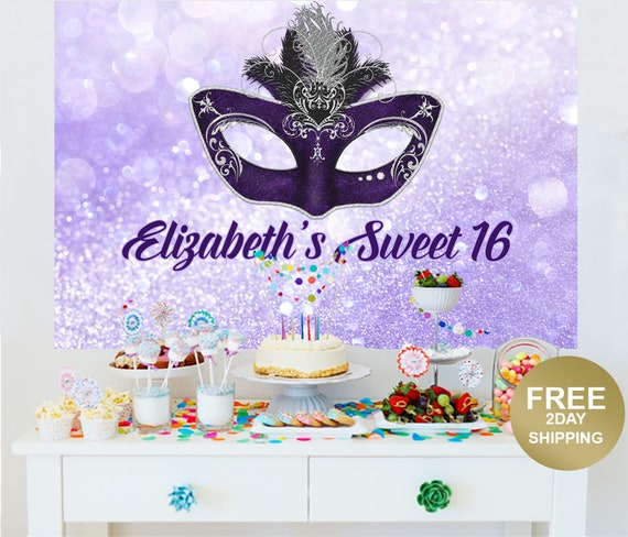 Phenomenal Masquerade Mask Personalized Party Backdrop Birthday Cake Etsy Funny Birthday Cards Online Alyptdamsfinfo