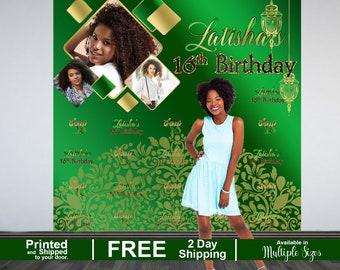 Sweet 16 Photo Backdrop | 16th Birthday Party Backdrop |  Birthday Backdrop | Arabian Nights Backdrop |  Printed Backdrop | Photo Backdrop