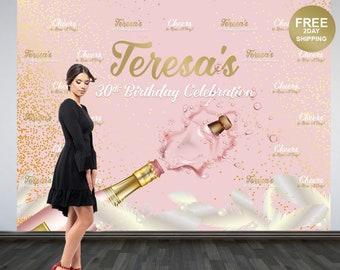 30th Birtdhay Personalized Photo Backdrop   Rose All Day Birthday Photo Backdrop, Step & Repeat Photo Backdrop, 40th Birthday Photo Backdrop