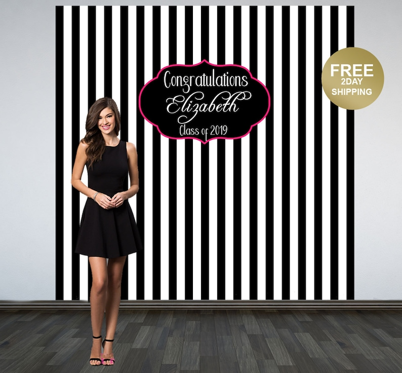7d4a3fee59 Black and White Stripes Graduation Backdrop | Class of 2019 Photo Backdrop  | Grad Photo Booth Backdrop | Graduation Photo Backdrop