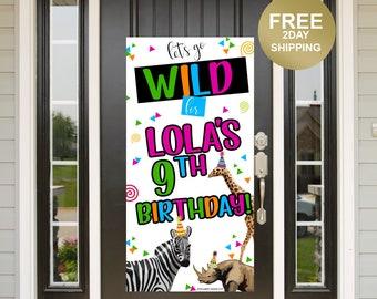 Quarantine Birthday Door Banner | Birthday Quarantine Banner | Birthday Door Banner | Jungle Animals Yard Banner, Party Animals Banner