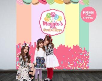 Sweet Shoppe Personalized Photo Backdrop | Candy Sprinkles Party Photo Backdrop | Printed Photo Backdrop, Birthday Backdrop, Cookie Backdrop