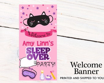 Sleep Over Party Birthday Door Banner ~ Personalized Slumber Party Banner- Welcome to the Party Custom Banner - Party Banners