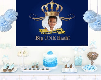 Royal Prince Personalized Backdrop - Birthday Cake Table Backdrop, 1st Birthday Prince Backdrop - Custom Photo Backdrop