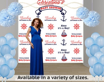Ahoy it's A Boy Party Personalized Photo Backdrop -Nautical Photo Backdrop- Baby Shower Step and Repeat Photo Backdrop, Photo Booth Backdrop