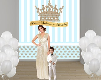 Little Prince Personalized Photo Backdrop - First Birthday Prince Party Backdrop- Custom Photo Backdrop - Welcome Prince, Baby Blue Prince