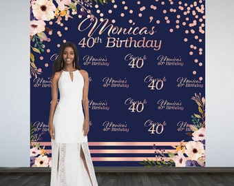 Floral Personalized Photo Backdrop, Rose Gold Photo Backdrop- 40th Birthday Backdrop. Printed Photo Booth Backdrop, 50th Vinyl Backdrop