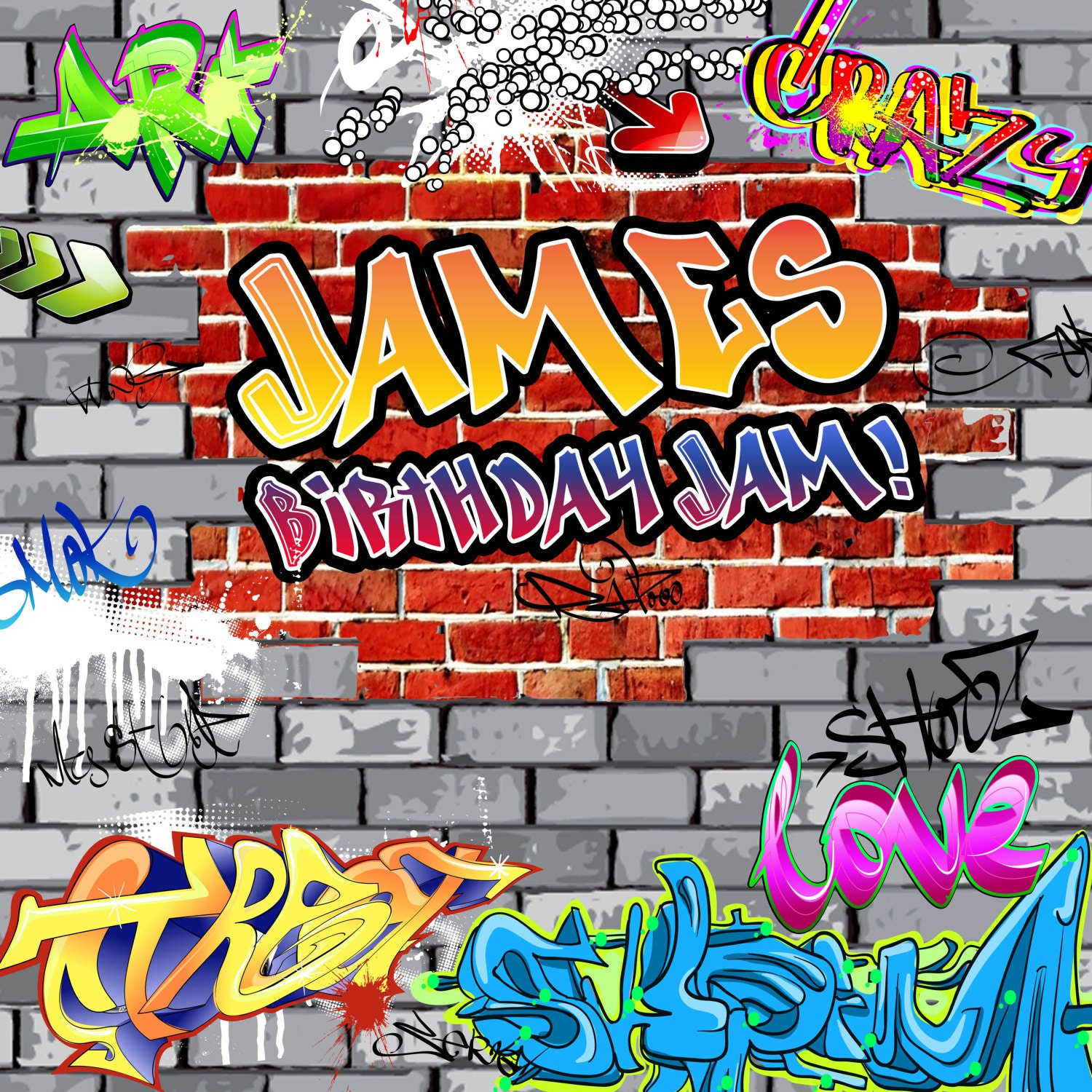 Graffiti Brick Personalized Photo Backdrop 90 S Photo