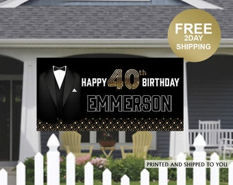 Birthday Banner | Personalized Birthday Banner |40th Birthday Vinyl Banner | Gentleman Birthday Banner | Quarantine Banner, Lawn Banner