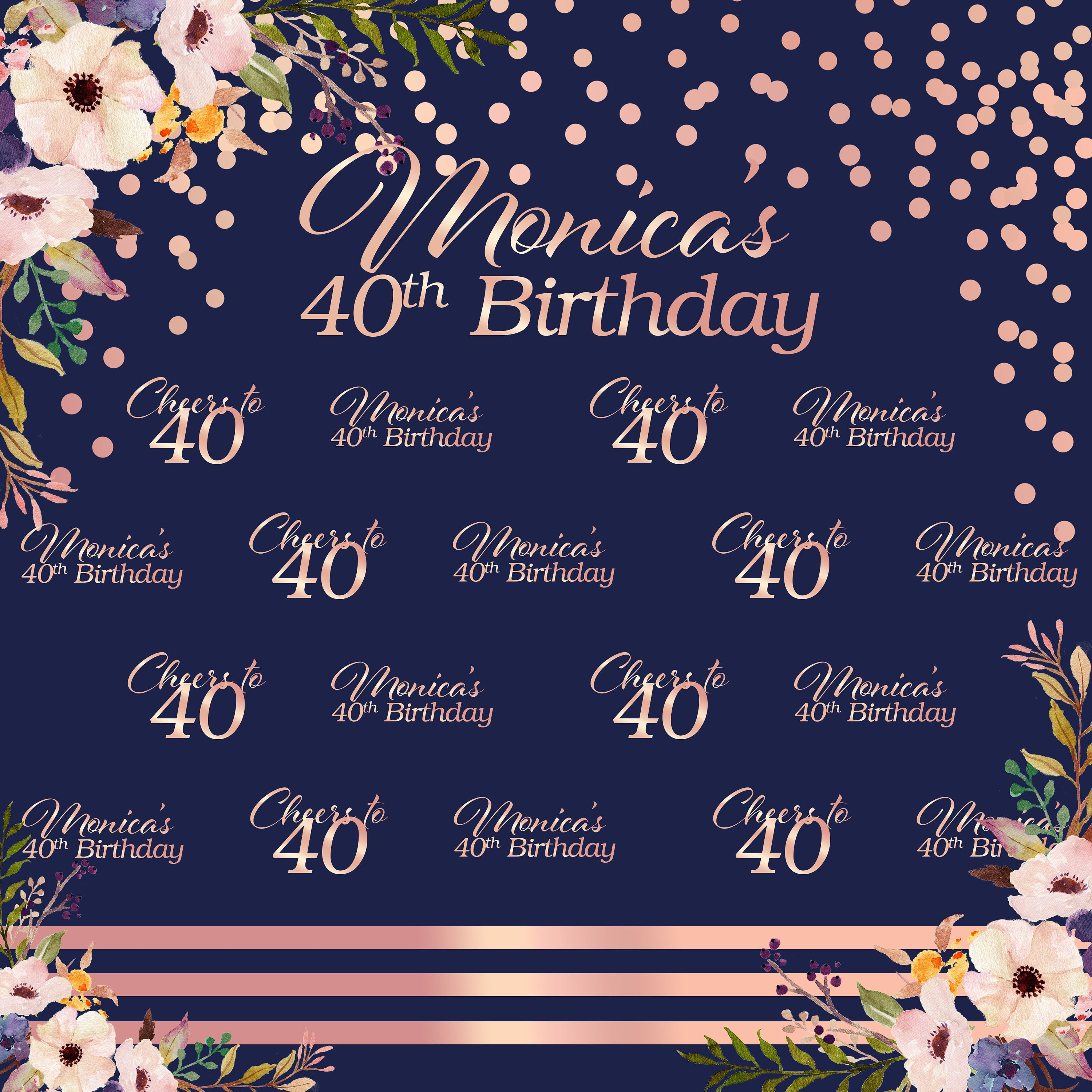 Floral Personalized Photo Backdrop Rose Gold Photo