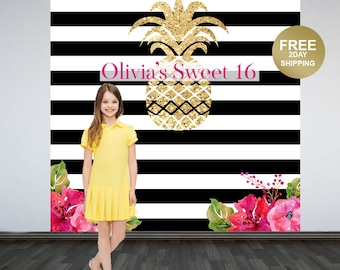 Pineapple Birthday Personalized Photo Backdrop | Black and White Stripes Backdrop | Printed Photo Backdrop | Sweet 16 Photo Booth Backdrop