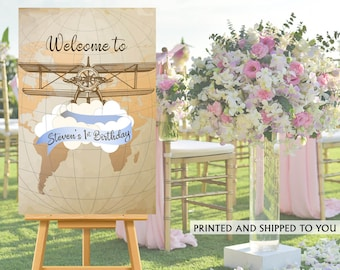 Vintage Airplane Welcome Sign, Welcome to the Party Sign, 1st Birthday Party Welcome Sign, Foam Board Welcome Sign, Printed Welcome Sign