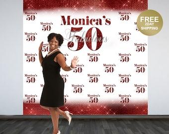 Fabulous 50 Personalized Backdrop   40th Birthday Backdrop   50th Birthday Photo Backdrop   Printed Photo Booth Backdrop   Birthday Backdrop