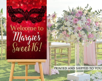 Masquerade Party Welcome Sign - Welcome to the Party Sign, Red and Gold Party Welcome Sign, Foam Board Welcome Sign, Printed Welcome Sign