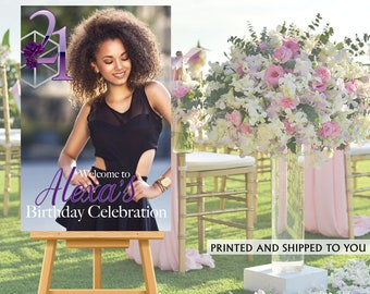 21st Birthday Photo Welcome Sign - Welcome to the Party Sign, Purple Floral Welcome Sign, Foam Board Welcome Sign, Printed Welcome Sign