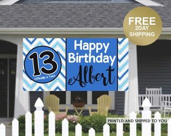 Officially a Teen Chevron Banner | Birthday Banner | Boys 13th Birthday Banner | Birthday Lawn Banner | Teen Birthday Banner | Yard Banner