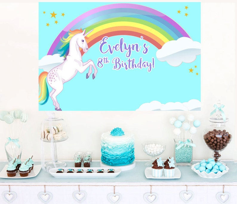 Rainbow Unicorn Personalized Party Backdrop Birthday Cake