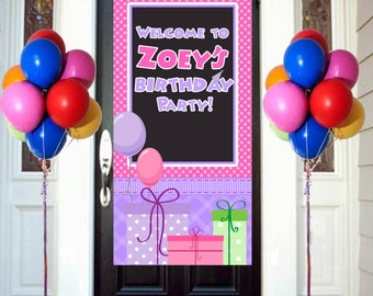Happy Birthday Door Banner, Birthday Personalized, Welcome to the Party Banne, Vinyl Birthday Banner, Printed Banner