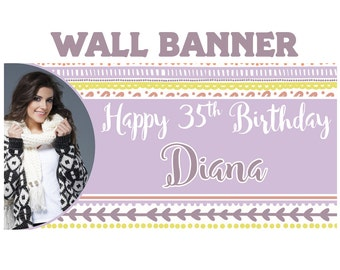 Boho Chic Birthday Banner  ~ 16th Birthday Personalize Party Banners -Milestone Large Photo Banners - Printed Banner