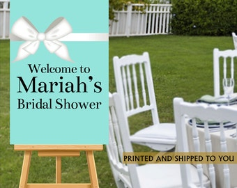 Bridal Shower Welcome Sign, Aqua Party Sign, Welcome Sign White Bow, Baby Shower Foam Board Sign, Reception Sign Board, Wedding Welcome Sign