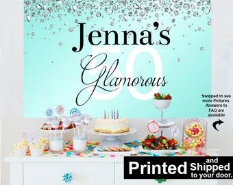 Glamorous 50 Personalized Backdrop - Birthday Cake Table Backdrop, Aqua and Diamonds Backdrop -50th Birthday Backdrop, 40th Birthday