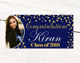 Class of 2018 Graduation Photo Banner ~ Congrats Grad Personalized Party Banners -School Colors Graduation Banner, Blue Photo Grad Banner