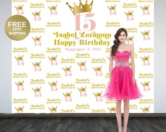 Birthday Princess Step and Repeat Personalized Photo Backdrop | Sweet 16 Photo Backdrop | 15th Birthday Backdrop | Princess Backdrop